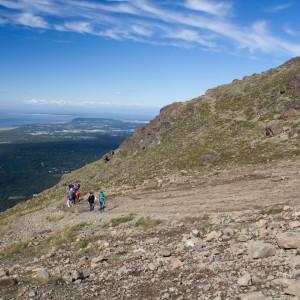 Enjoying an overlook on the way up Flattop Mountain