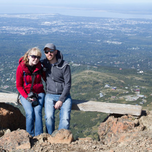 Both of us atop Flattop Mountain, overlooking Anchorage